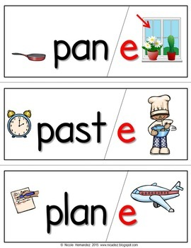 CVC and CVCE {Silent e} Illustrated Word Cards