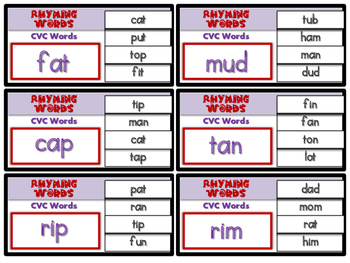 Clip Cards- Rhyming Words