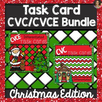 CVC and CVCE Task Cards Bundle~ Christmas Edition