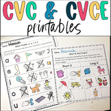 CVC and CVCE Worksheets