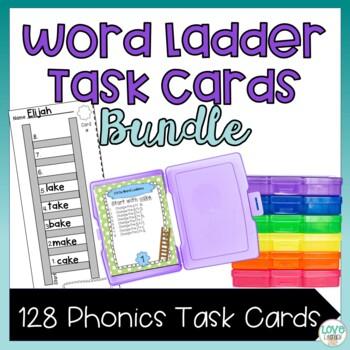 CVC and CVCe Phonics Word Ladder Task Card Bundle