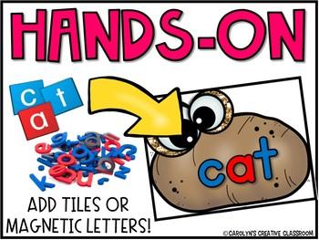 CVC and CVCe words Literacy Centers - CVC & CVCE Hot Potato Game Cards
