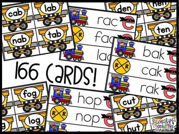 CVC and CVCe words Train Centers - CVC & CVCE Train Game Cards