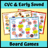 CVC and Early Sounds Board Games for Speech Therapy Articulation, Apraxia