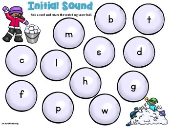CVC and Initial Sound Phonics Games Winter Addition