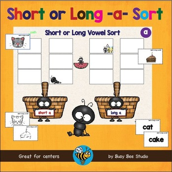 CVC and CVCE Game: Short and Long A Word Sort