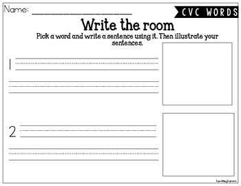 CVC and Missing Sounds- Write the Room BUNDLE