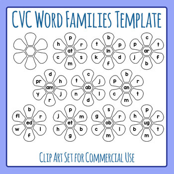 CVC and More Word Families Template Flowers Clip Art Commercial Use