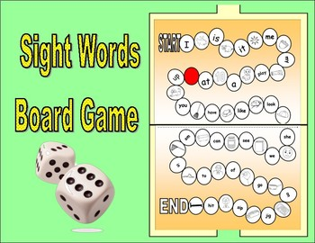 CVC and Sight Words Board Game For Kindergarten