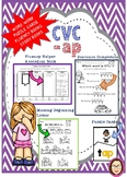 CVC -ap word work, reading passages, fluency book