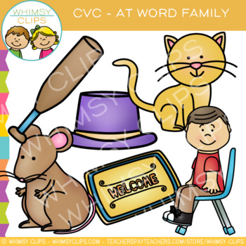 CVC Clip Art:  -at Word Family Clip Art {Volume One}
