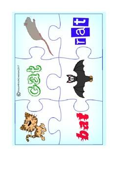 CVC 'at' Word Family Jigsaw Puzzles