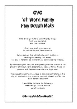 CVC 'at' Word Family Play-Dough Mats
