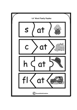 CVC 'at' Word Family Puzzles
