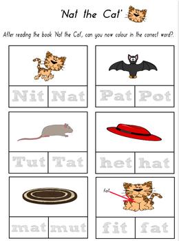 CVC 'at' Word Family Worksheet based on the reader 'Nat the Cat'.