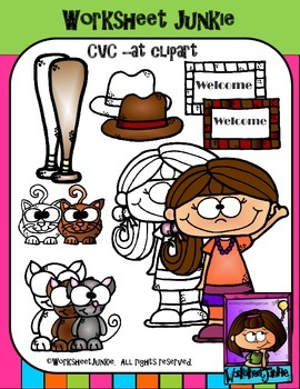CVC -at word family clipart