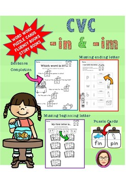 CVC -in and -im word work, reading passages, fluency book