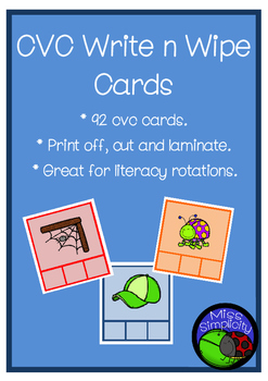 CVC mini write and wipe CARDS - 92 color cards