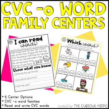 CVC short o Word Family Centers