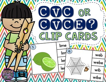 CVC or CVCe? Long and Short Vowel Clip Cards