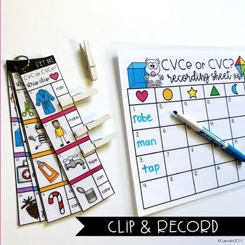 CVC or CVCe? Clip Cards (Strip Clips & Recording Sheets)