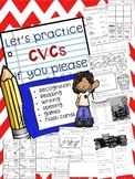 CVC packet. Includes mini books, worksheets, games, flashcards
