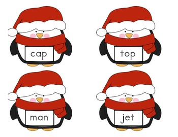 CVC penguin words and picture match