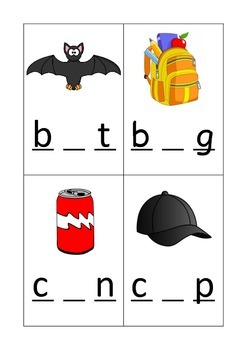 CVC phoneme writing with pictures and clues