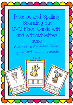 CVC phonic and spelling FLASHCARDS - 30 cards AUSTRALIAN FONTS + comic sans