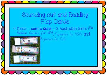 CVC phonics and reading FLAP CARDS - 30 cards AUSTRALIAN FONTS + comic sans