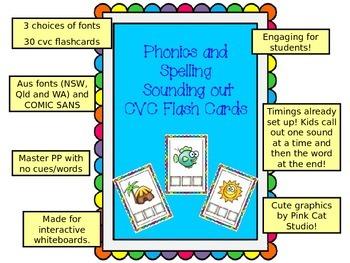 CVC phonics spelling DIGITAL FLASHCARDS - 30 cards AUSTRALIAN FONTS + comic sans