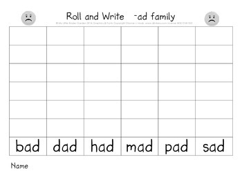 CVC short a Roll and Write (ad, ag, am, an, ap, at word families)