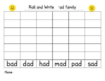 CVC short a Roll and Write (ad, ag, am, an, ap, at word families)