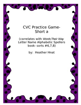 CVC short a game- Words Their Way sorts 6-8