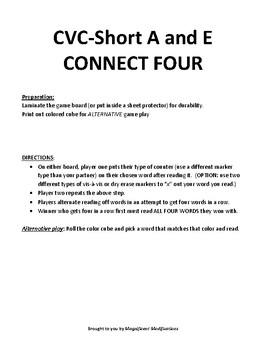 CVC short a or e CONNECT FOUR