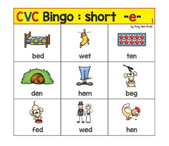 "ESL Games - CVC Bingo: short ""e"""