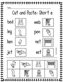 CVC (short e) Cut and Paste