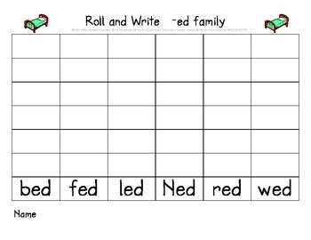 CVC short e Roll and Write (ed, en, et word families)