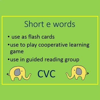 CVC - short e word cards and I have Who has game