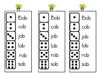 CVC short o Roll and Write (ob, og, op, ot word families)