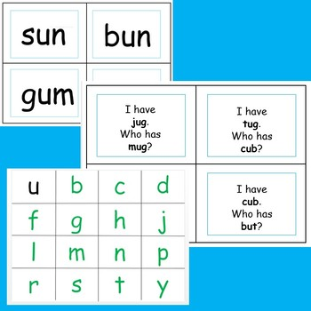 CVC - short u word cards, I have Who has game, letter cards