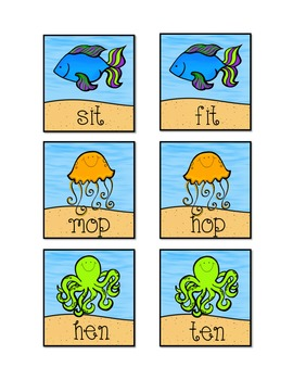 CVC short vowel Go Fish with recording sheet & self-check