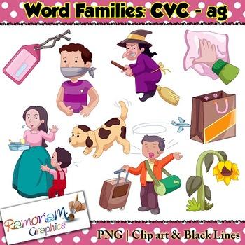 CVC short vowel ag clip art