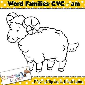 CVC short vowel am clip art