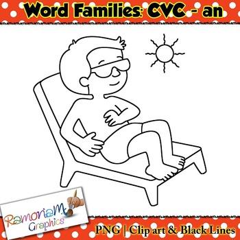 CVC short vowel an clip art
