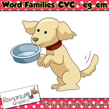 CVC short vowel eg & em clip art