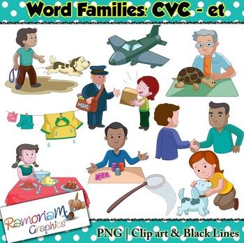CVC short vowel et clip art