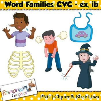 CVC short vowel ex & ib clip art