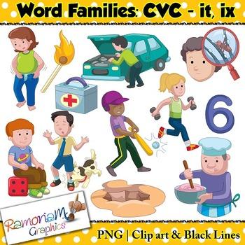 CVC short vowel it & ix clip art