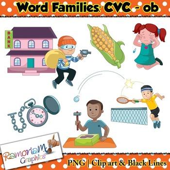 CVC short vowel ob clip art